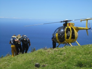 Ashley scoring us a free helicopter ride off the back side of Haleakala. Go team Girl Power!